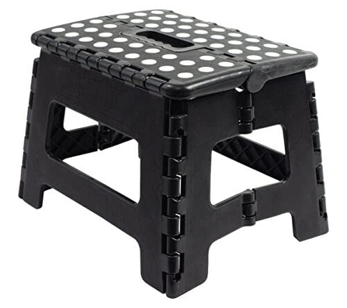 Vani Klapphocker - Klappbarer Tritthocker - Bis 100 kg belastbar - Klapptritt Hocker mit 1 Stufe - Haushaltsleiter für Kinder & Erwachsene - Schwarz