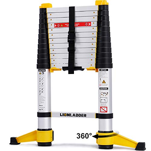xaestival Lionladder 12.5FT EN131-6 Telescoping Ladder, One-Button Retraction, Pro Aluminum Ladder, 330 Lbs Capacity
