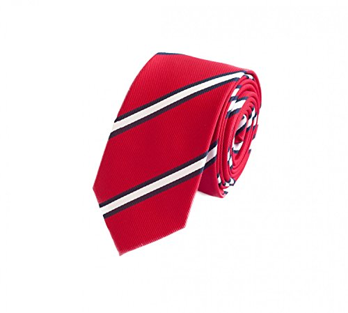 Fabio Farini - Cravate 6cm largeur homme avec rayures étroite rouge blanc noir