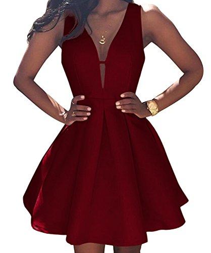 VinBridal Simple Little Homecoming Dress Short Sleeveless Ball Gown Prom Dresses Burgundy 6