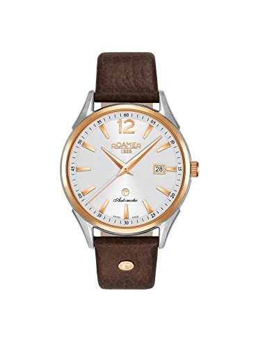 Roamer Reloj Automático para Hombre, con Esfera Analógica Pantalla y Correa de Piel Color marrón 550660492505
