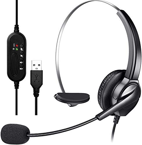 USB Headset mit Mikrofon Noise Cancelling & Audio Controls, Stereo PC Kopfhörer für Business Skype UC Lync Softphone Call Center Office Computer, klarere Stimme, super leicht, ultra bequem