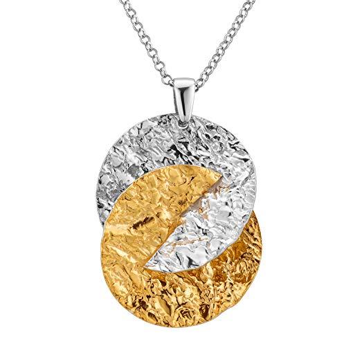 LillyMarie Donne Collana Fine Argento Sterling 925 Rimorchio Corrugato oro Lunghezza Regolabile Confezione Regalo Piccoli Regali