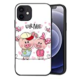 Wozukia Two Cute Cartoon Pigs Case Compatible with iPhone 12 and iPhone 12 Pro 6.1 Inch 2020 on A Hearts Background Butterflies Decor Funny Pink Soft Flexible TPU Shockproof Screen Protector Cover