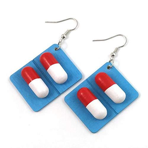 Yeucan - Orecchini in lega di legno, pillola divertente per orecchini a forma di pillola, colore: blu