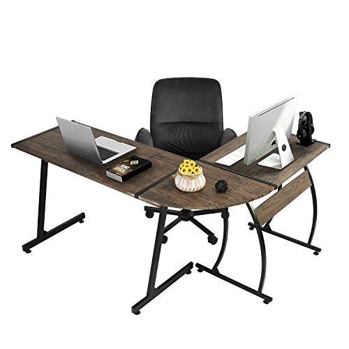 Coavas Escritorio en L Mesa de Ordenador Esquinero para Despacho Habitación Juvenil o Estudio para Hogar u Oficina Esquinero Color Negro (Negro)