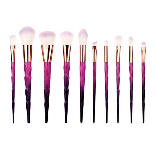 Fête des Mères Pinceau Maquillage Licorne,❤️ ♬♬ ❤️ LMMVP Coloré Rainbow Foundation Eyeliner Ensemble de brosses Pinceaux de maquillage(10pcs) (10PCS, 773 violet)
