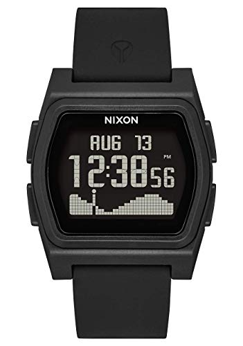 NIXON Rival A1310 - All Black - 100m Water Resistant Women's Digital Surf Watch (38mm Watch Face, 20mm-19mm Pu/Rubber/Silicone Band)- Made with #Tide Recycled Ocean Plastics