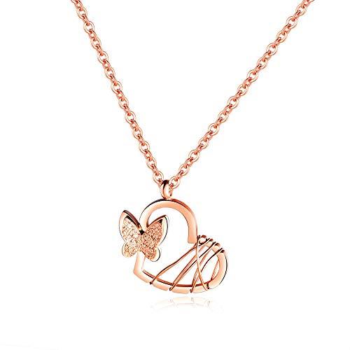 Gargantilla popular esmerilado tridimensional pequeño colgante de mariposa de acero de titanio amor corazón plateado collar de mujer de oro rosa