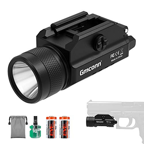 1200 Lumens Rail Mounted Compact Pistol Light LED Strobe Tactical Gun Flashlight Weaponlight for Picatinny MIL-STD-1913 and Glock Pistol Weapon Light with Cree XML2 LED,2 x CR123A Lithium Batteries
