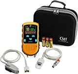 CMI Health Battery Operated Pulse Oximeter - Adult Finger Spot-Checking - Adjustable Alarm for Pulse Rate and SpO2 Levels - Batteries, Carry Case Included