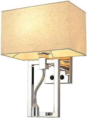 Simple Stainless Steel Wall Lamp Fashion Bedroom Living Room Fabric Wall Light Single Head Hotel Aisle LED Reading Light