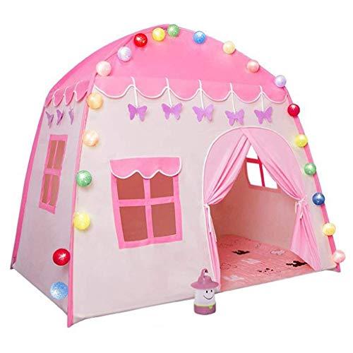 DX Children's tent, interieur schoonmaken meisje prinses, verjaardag, droom kasteel (kleur: roze, grootte: B)