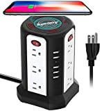 Surge Protector Tower Wireless Charger, SUPERDANNY 15A Vertical Power Strip 3600W Desktop Charging Station with 12 Outlets 5 USB Ports 6ft Heavy Duty Extension Cord for Home, Office, Dorm, Black+White