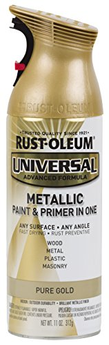 Rust-Oleum 245221-6 PK 245221 Universal All Surface Spray Paint, 11 oz, Metallic Pure Gold, 6 Pack