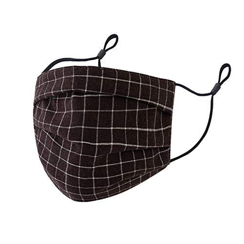 DIYAGO Waschbares wiederverwendbares Baumwollgesicht M Gitterdruck Verstellbare Ohrschlaufen Weiche, Bequeme Mode Outdoor Gesicht Bandana