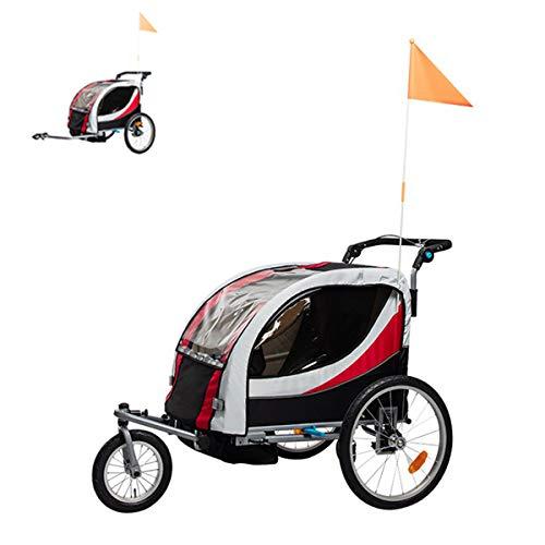OLMME 2-in-1-Kinderfahrradanhänger & Kinderwagen 2-Sitzer-Kinderanhänger-Jogger-Kit Im Stahlrahmen Mit Handbremse Faltbarer Transportwagen Rot