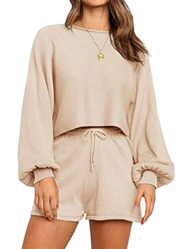 Famnbro Womens Lounge Sets Sexy 2 Piece Outfits Knitted Lantern Sleeve Crop Top Drawstring Shorts Pajamas