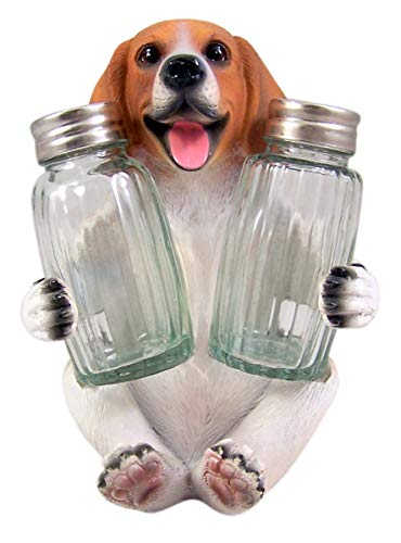 Beagle Salt and Pepper Shaker Holder Figurine 5 3/4 Inch (Shakers Included)