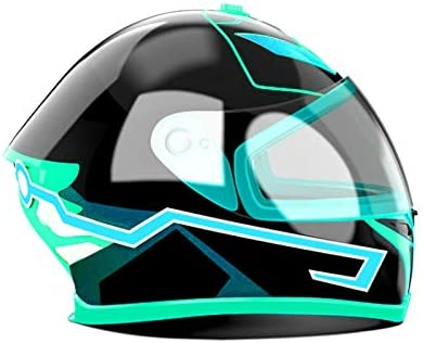 Lopbinte Motorrad Helm El Kalt Licht Helm Licht Streifen Nacht Signal Leucht Modifizierte Streifen Helm Aufkleber Eis Blau Auto