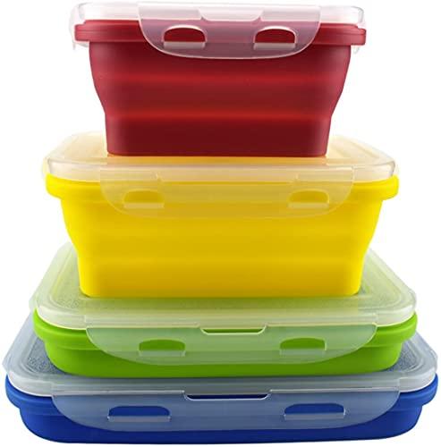 Lounaya - Fiambrera plegable de silicona para alimentos, 4 unidades, soporte plegable, de silicona,...