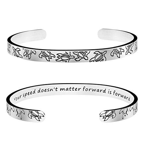 Joycuff Turtle Bracelet for Women Best Friend Sister Daughter Mom Inspirational Gift Encouragement Jewelry Motivational Cuff Bangle