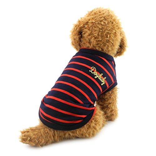 SMALLLEE_LUCKY_STORE Canotta per cani di piccola taglia Canotta in cotone a strisce t-shirt Doggy Shirts Chihuahua vestiti rosso XL