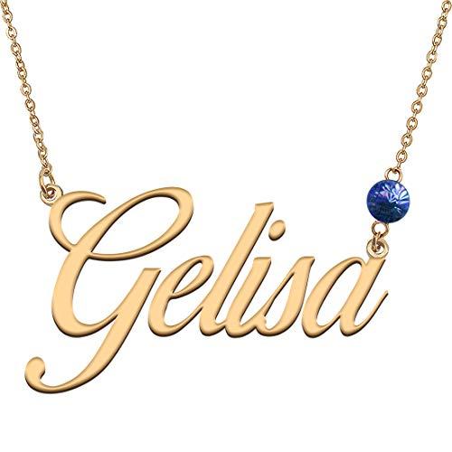 Collar con nombre inicial de piedra natal hecha a medida para niñas dorado