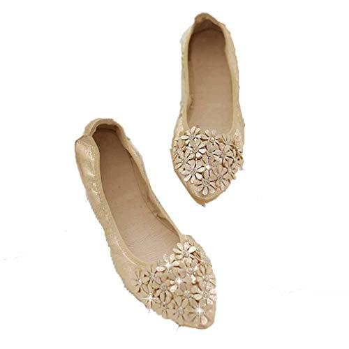 Frauen flachen Mund lässige Schuhe frühling und Herbst Spitzen Strass weichen flachen Mund Flache Schuhe Schwangere Frauen Schuhe Arbeit büro Kleid Schuhe Fahren Schuhe