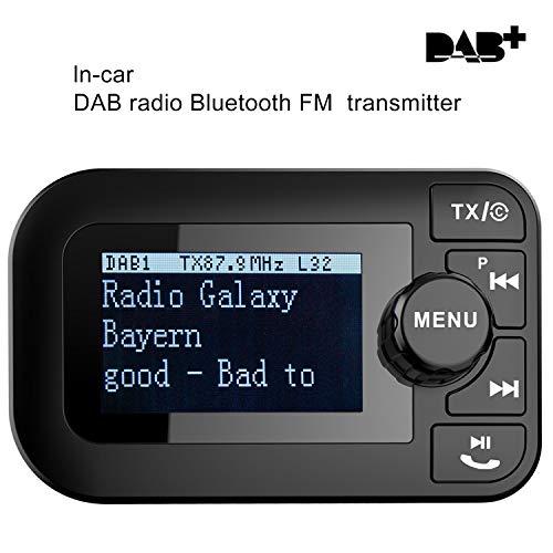 Aimtel DAB/DAB + Radio- und FM-Sender im Auto, 2,3-Zoll-LCD-Display, AUX-EIN- / Ausgang, Drahtloser Tragbarer Digitalradio-Adapter mit Bluetooth für Freisprechanrufe.
