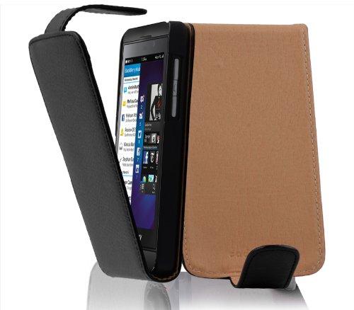 Cadorabo Hülle für BlackBerry Z10 - Hülle in Oxid SCHWARZ – Handyhülle aus Strukturiertem Kunstleder im Flip Design - Hülle Cover Schutzhülle Etui Tasche