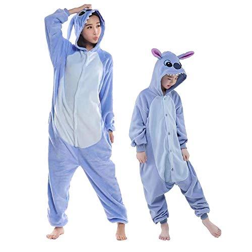 Swanka Pijama Stitch Onesie Disfraz Traje Adulto Niños Niña Mujer Animale Invierno Kigurumi Cosplay Halloween y Navidad (Azul Stitch, L)