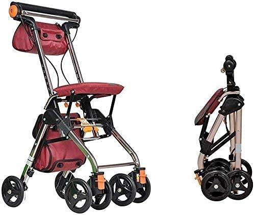 FGVDJ Andador con Ruedas Rollator Walking Aids 4 Ruedas portátil Plegable, Drive Walking Aids, 3.2 kg, Medical RollatorWalker Sistema de Doble Freno, Utilizado para p