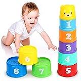 O-Kinee Vasos Apilables para Niños, Juguetes Bebe 6 Meses, 9 Piezas Cubos...