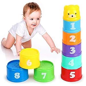 O-Kinee Vasos Apilables para Niños, Juguetes Bebe 6 Meses, 9 Piezas Cubos Apilables Playa Juguete Bebes, Stacking Toy, Educación Temprana Juguetes Montessori, Juguetes Educativos, para Baños y Playas