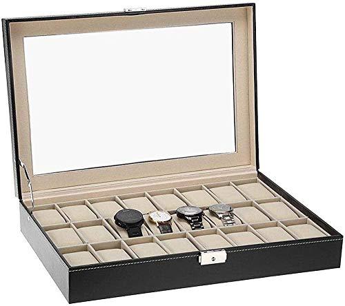 MMYNL 24 Caja de Almacenamiento de Reloj de Cuero Caja de presentación Organizador cosmético Caja de Regalo Caja de Reloj Caja de Regalo 43 * 29 * 8.4cm