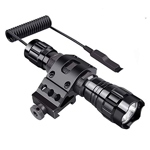 Single Mode Tactical Flashlight, 1000 Lumens LED Rifle Hunting Light, Flashlights with Picatinny Rail Mount, Remote Pressure Switch, Rechargeable Battery, Charger