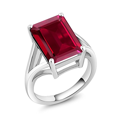 Gem Stone King 925 Sterling Silver Created Ruby Women Solitaire Ring (8.00 Ct Emerald Cut) (Size 9)