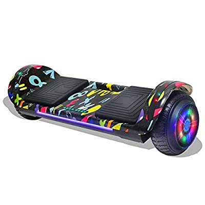 Longtime Kids 2020 Edition Hoverboard Self Balancing Scooter with LED Lights Flashing Wheels - UL Certified (Graffiti Black)
