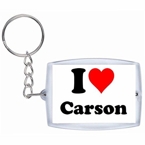 Druckerlebnis24 Schlüsselanhänger I Love Carson in Weiss - Exclusiver Geschenktipp zu Weihnachten Jahrestag Geburtstag Lieblingsmensch