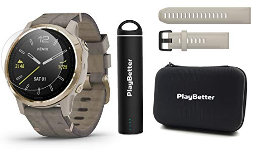 Great Deal! Garmin Fenix 6S Sapphire (Light Gold with Gray Leather Band) Power Bundle | Extra Quickf...