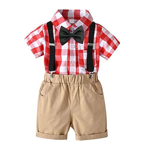 Baby Boy Formelle Kleidung Set Neugeborenen Lattic Polo Shirt Top und Hosenträger Shorts Hose Mode-Outfit