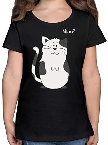 Tiermotive Kind - lustige Katze - 116 (5/6 Jahre) - Schwarz - ich Bin 9 Katze Tshirt - F131K - Mädchen Kinder T-Shirt