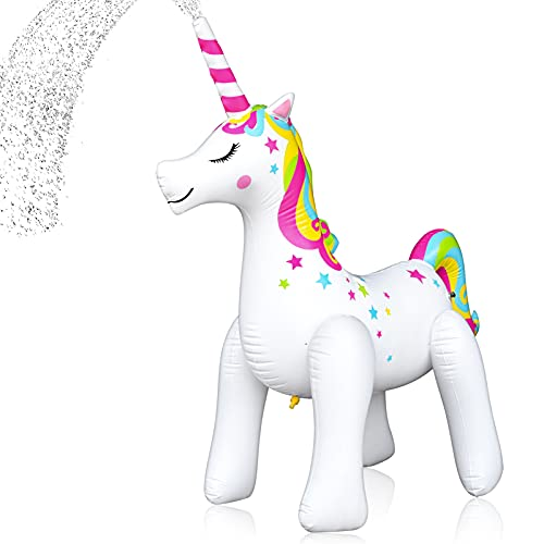 olyee Giant Unicorn Sprinkler Inflatable Unicorn Water Toys Outdoor Inflatable Ginormous Unicorn Yard Sprinkler for Kids