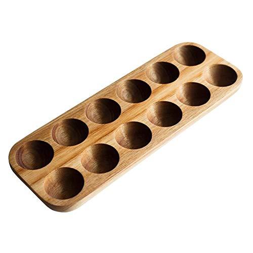 Growment 12 L de Cher de madera sintética japonesa con doble fila de almacenamiento para huevos, organizador para la casa, soporte para huevos, decoración de cocina