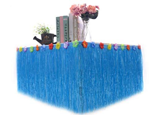Falda De Mesa De Fiesta, Falda De Mesa De Estilo Hawaiano, Utilizada Para Picnic Familiar, Fiesta De Bodas, Barbacoa De Cumpleaños, Jardín Tropical, Playa, Decoración De Fiesta De Verano 275*75cm azul