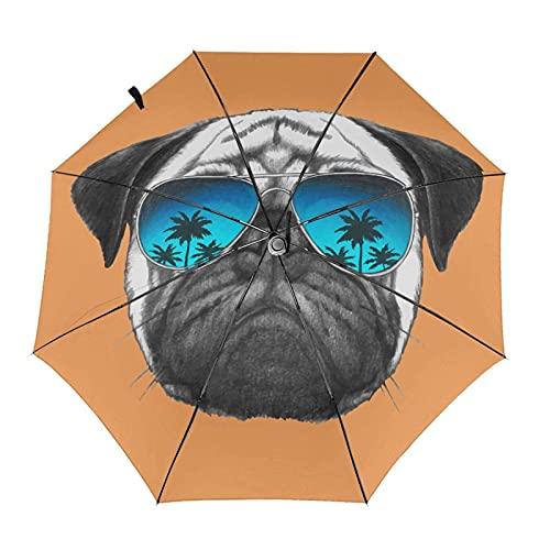 DXZ-Design Paraguas Plegable de Viaje Compacto, Sol, Lluvia, a Prueba de Viento, niños, Mujeres, Hombre, Perro Pug, Bronceado, con Gafas de Sol de Palmera