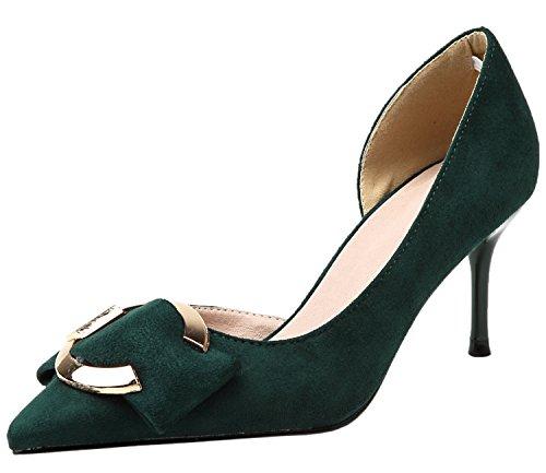 BIGTREE Kleid Pumps für Damen Spitze Zehen Sandalen D'orsay Metall Schnalle Grün Stiletto Schuhe 39 EU