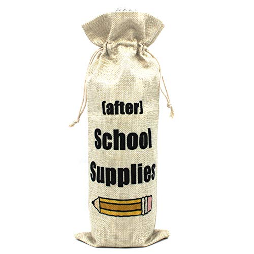 After School Supplies Wine bags Perfect Gift for Teacher Gift for Coworkers Teacher appreciation gift wine bags Cotton burlap wine bags