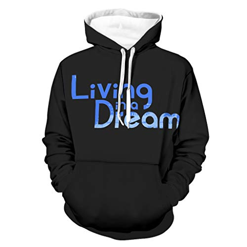 Living Dream - Sudadera con capucha para hombre, manga larga, con bolsillos Negro XL